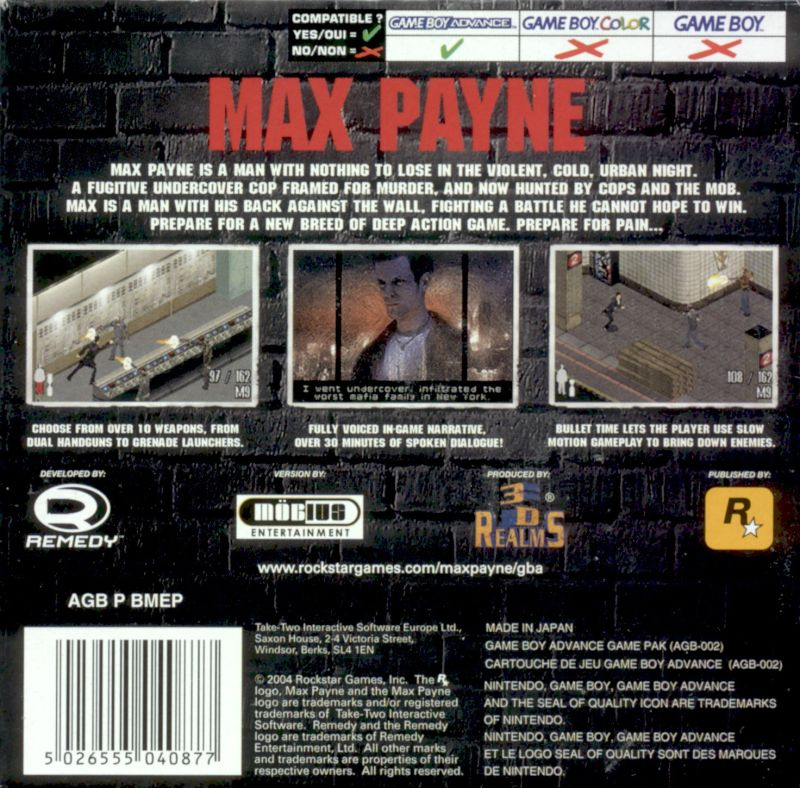 Max Payne Game Boy Advance Everygamegoing Com